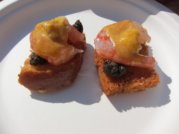 R&D's shrimp toast with side stripe prawn, black truffle, cauliflower, preserved duck egg and English mustard.