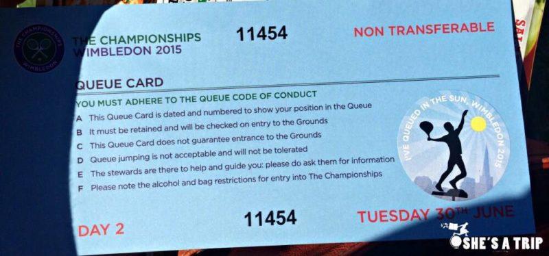 Wimbledon Afternoon Queue Wimbledon Queue Tips Wimbledon Queue Card Instructions