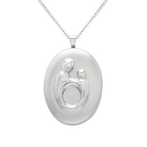 Silver Mother and Child Locket