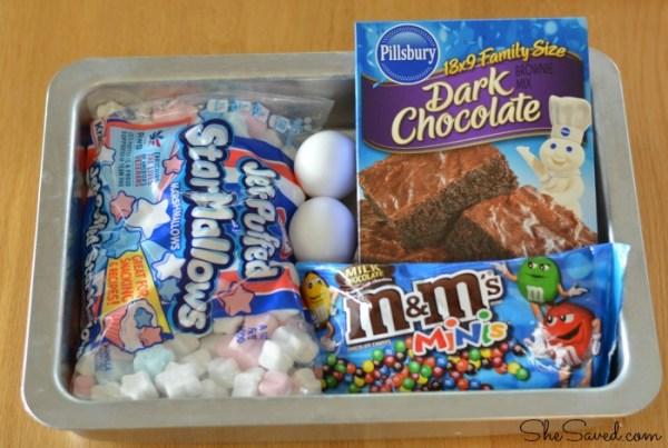 Ingredients for 4th of July Patriotic Brownies!