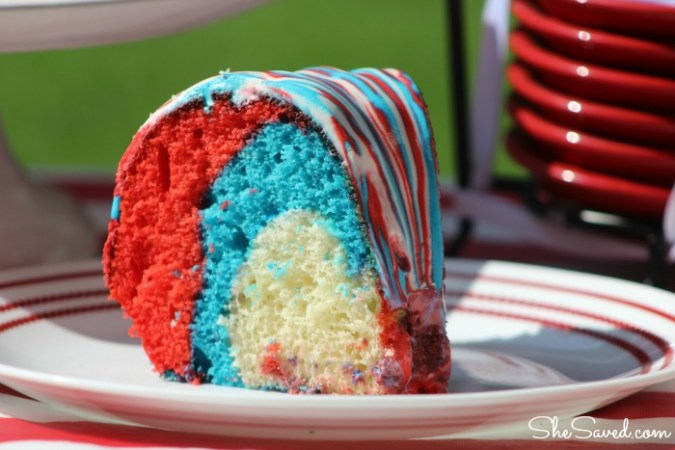 This 4th of July Cake is perfect for your festivities! Made with red, white and blue, it will be a 4th of July dessert hit at your festivities!