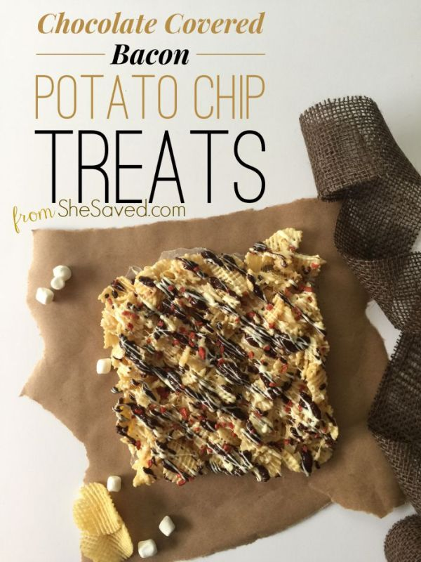 These Chocolate Covered Bacon Potato Chip Treats are amazing! Make sure to pin them for the next time that you need to wow a crowd with fantastic treat!