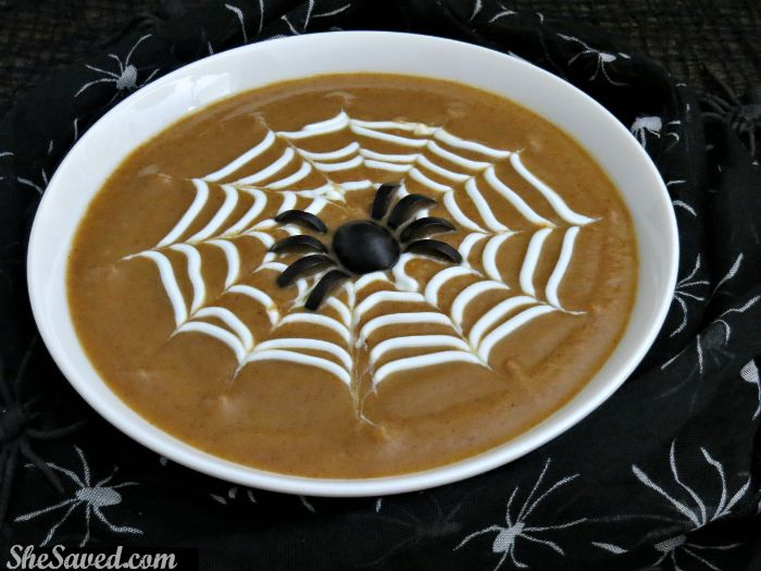 Spook and so much fun! This spiderweb soup will be the hit of your halloween bash!