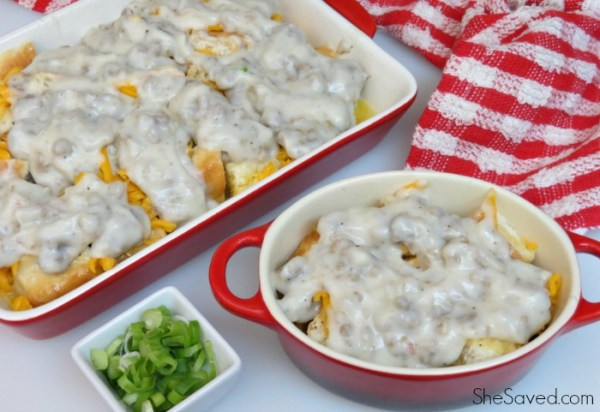 Yummy and easy to make, this gravy breakfast casserole will hit the spot and will be a new breakfast favorite!