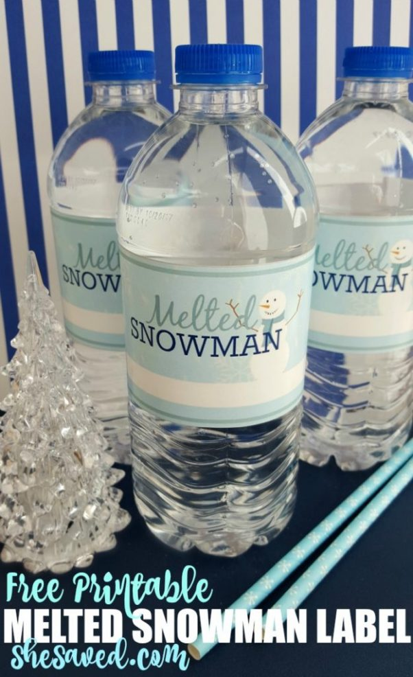 Here's a fun and wintery way to celebrate the snow (or lack of?) Print these fun and FREE melted snowman labels to decorate water bottles for snack or lunch time! Great for classroom parties too!