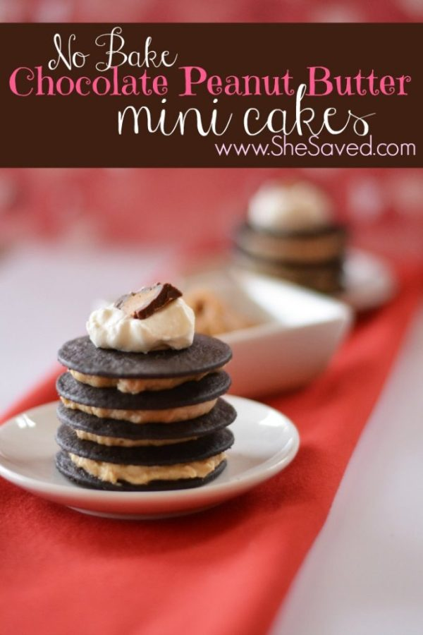 These No Bake Chocolate Peanut Butter Mini Cakes are the perfect treat to make for your Valentine's Day tea party with the kiddos!