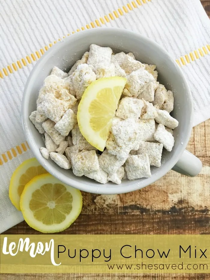This Lemon Puppy Chow Mix is the perfect snack and I love the lemon twist that makes it a wonderful and light snack for spring! ~from SheSaved
