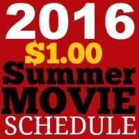 2016 Regal Cinemas $1 Summer Movie Schedule