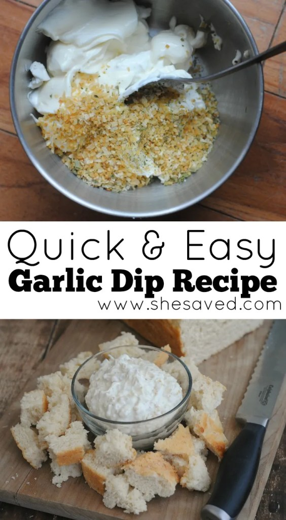 You can whip up this quick and easy garlic dip recipe in minutes and it makes the perfect appetizer!