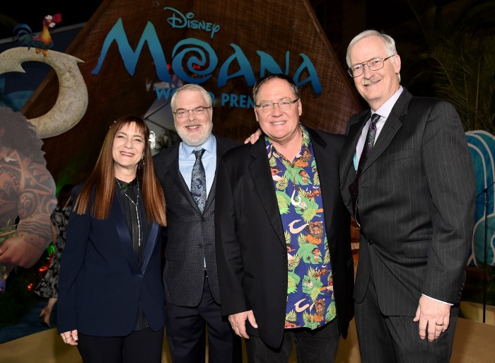 "(L-R) Producer Osnat Shurer, director Ron Clements, executive producer John Lasseter, and director John Musker attend The World Premiere of Disney's ""MOANA"" at the El Capitan Theatre on Monday, November 14, 2016 in Hollywood, CA. (Photo by Alberto E. Rodriguez/Getty Images for Disney)"