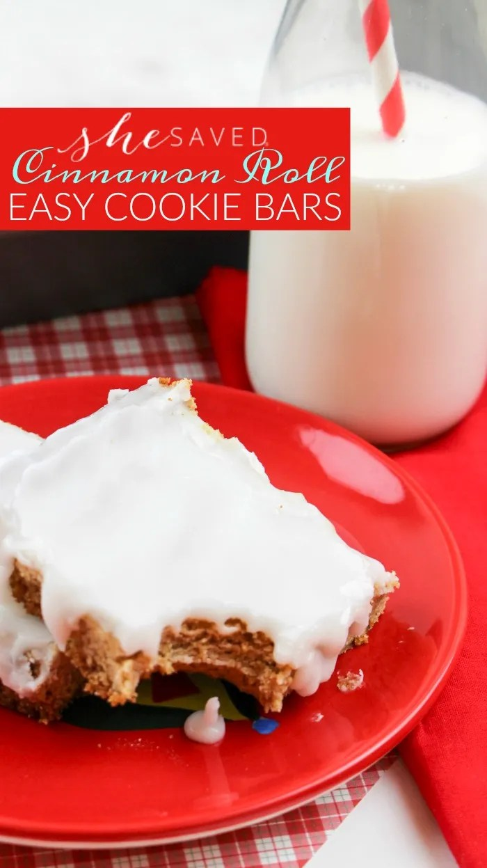 These cinnamon roll cookie bars are an easy cookie bars recipe, that takes just like homemade!