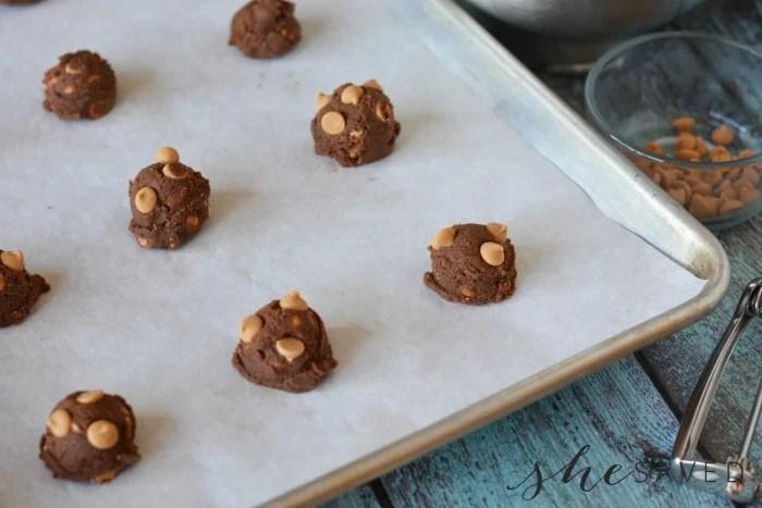 Chocolate Peanut Butter Drop Cookies