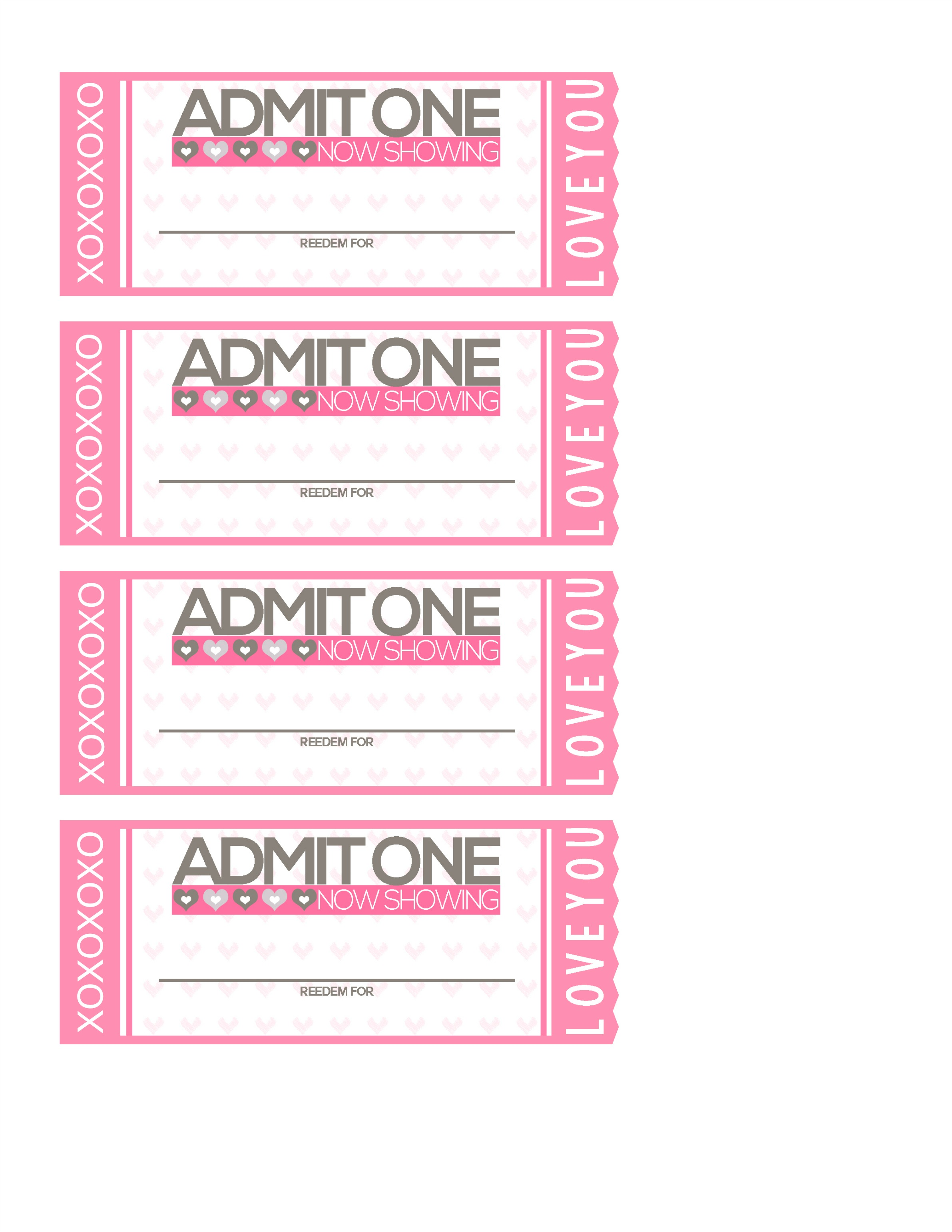 Free Printable Tickets To Love Valentine Coupon Book