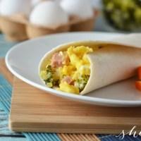 Broccoli, Ham, and Cheese Breakfast Burrito Recipe