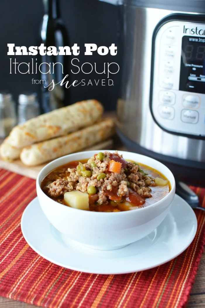 Easy and SO yummy this Instant Pot Italian Soup Stew recipe is perfect for busy moms with hungry families!