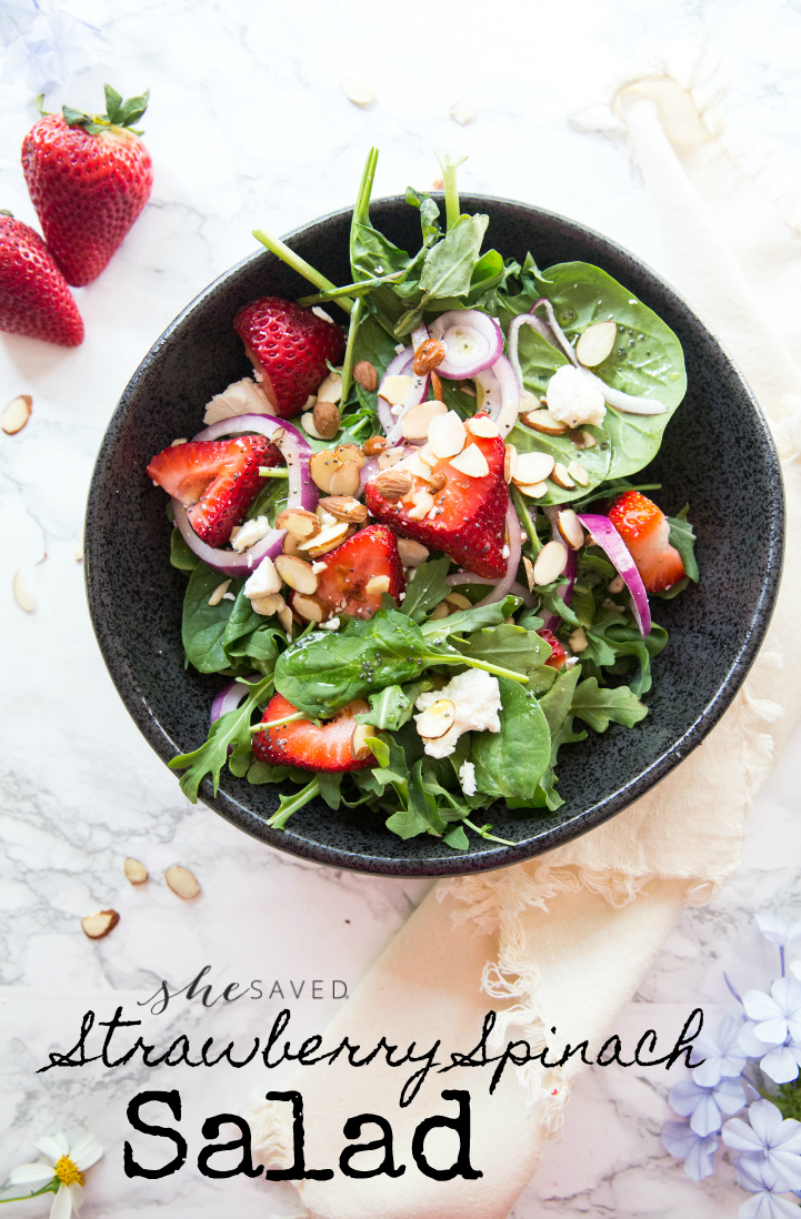 Easy and SO good, this strawberry spinach salad recipe is perfect for summer BBQs, picnics and parties!