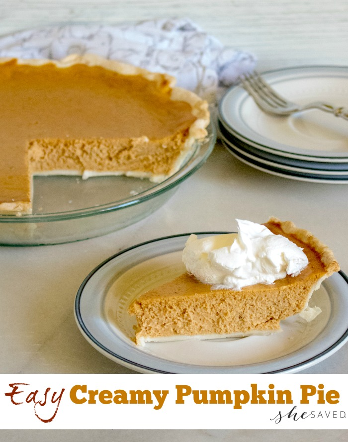 You'll be so thankful for this easy CREAMY pumpkin pie recipe, it's SO good and a super simple dessert!