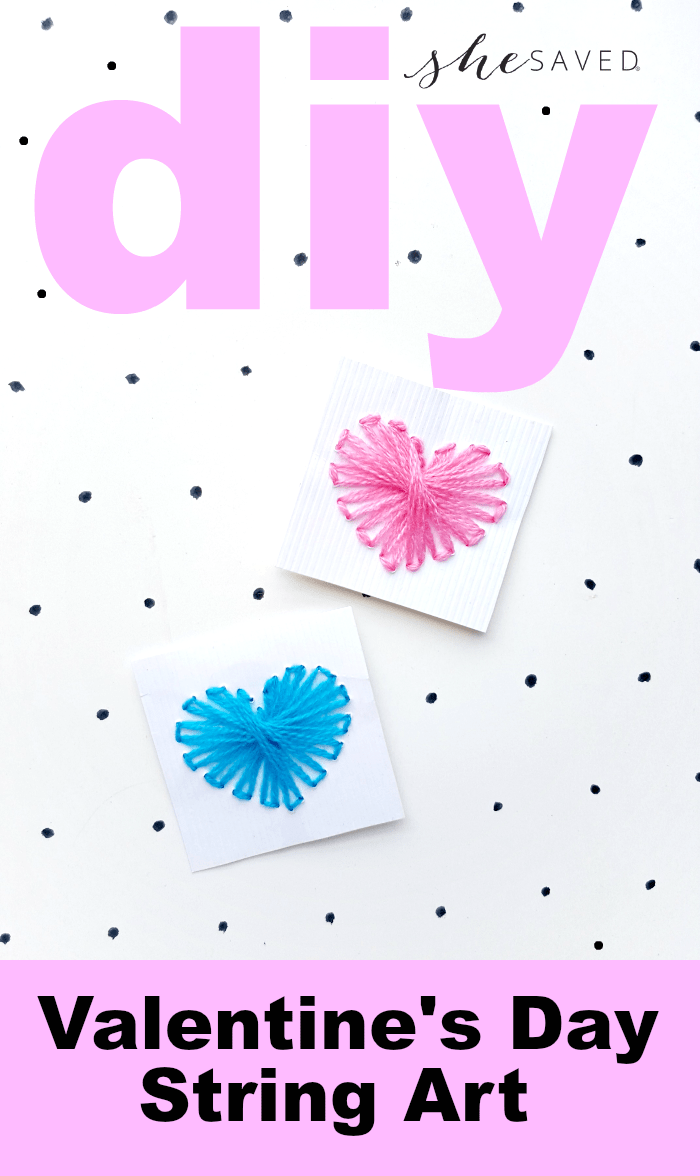 Easy and fun Valentine's Day DIY Heart String Art craft