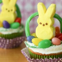 Easy Easter Basket Cupcakes with Peeps