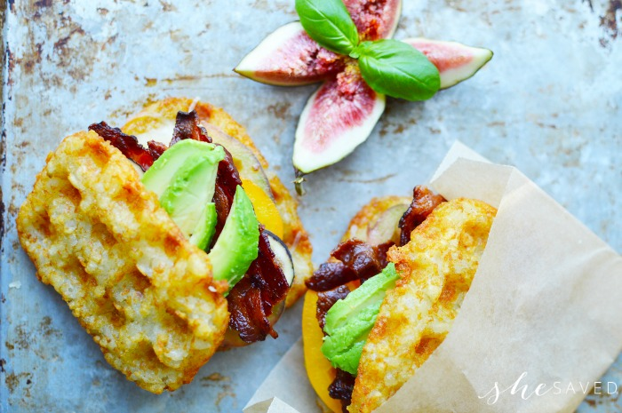 Hash brown sandwich with bacon and avocado