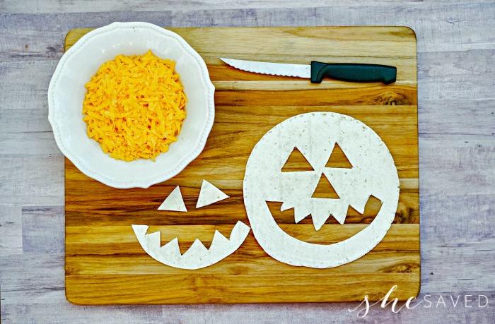 Pumpkin face in tortilla