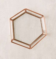 Copper Hexagon Dish - Before & After: Front Door Hallway Goes From Dark & Dingy To Light & Bright In This Boho Chic Entryway Renovation. See The Before & after Here. DIY Reno Entryway, Black Door   www.shesbabely.com