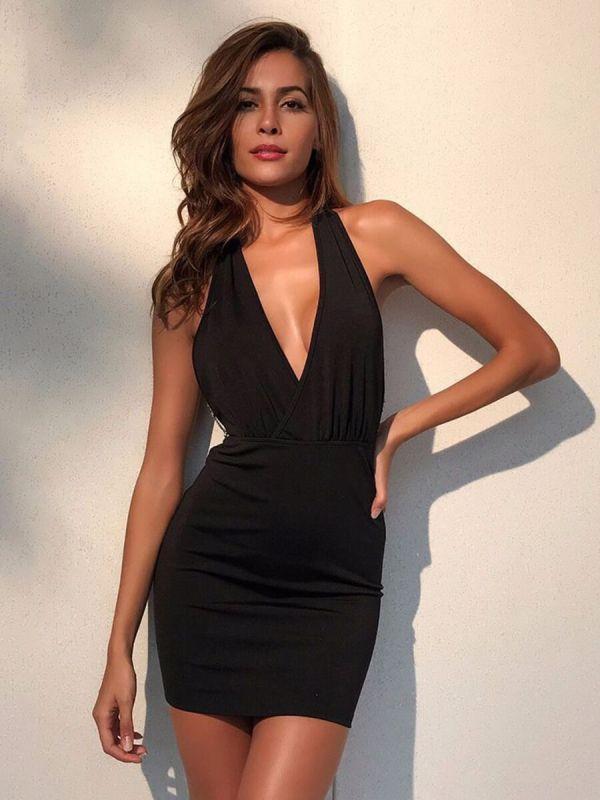 shestar wholesale V-neck Chain Decor Backless Halter Dress