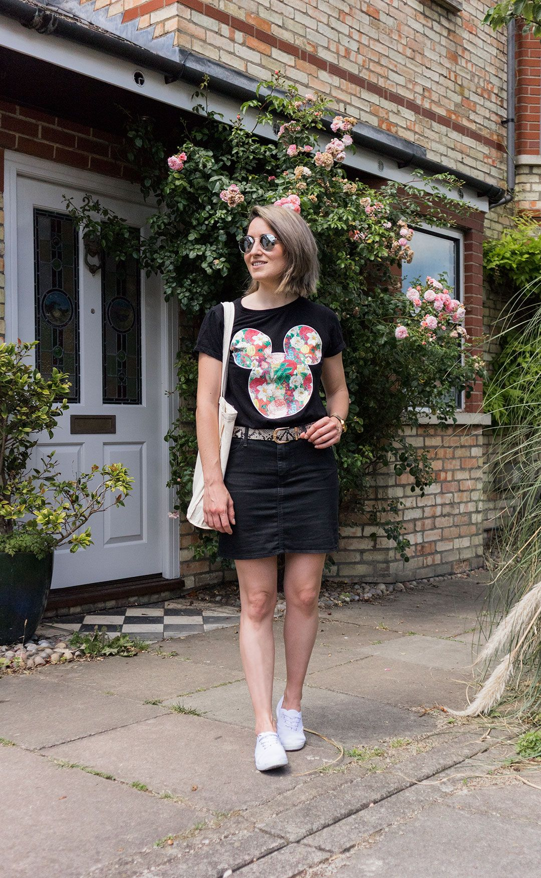 Printed Disney tee - another way to floral print! | Black mini skirt | Canvas bag and shoes | She talks Glam | 10 things I have done in my 6 months as blogger