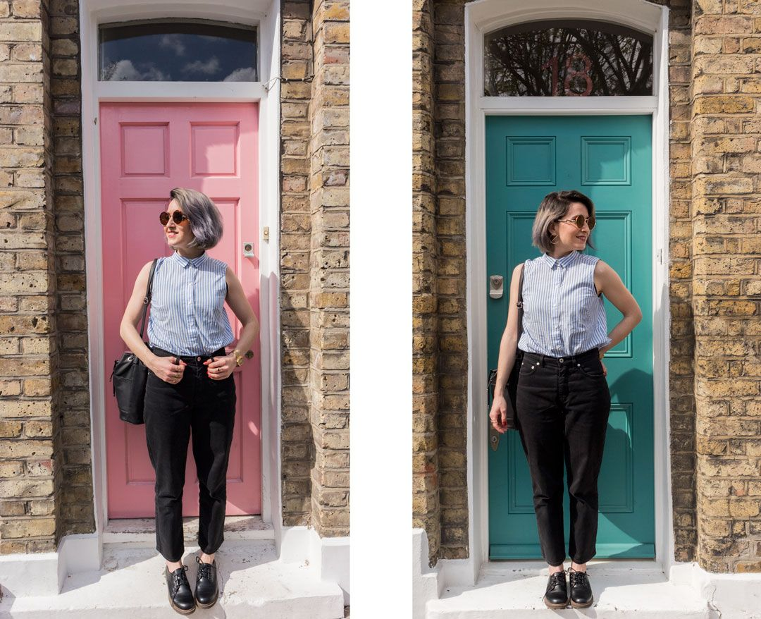 Soreditch colourful doors | Striped sleeveless shirt | Mom black jeans | She talks Glam | 10 things I have done in my 6 months as blogger