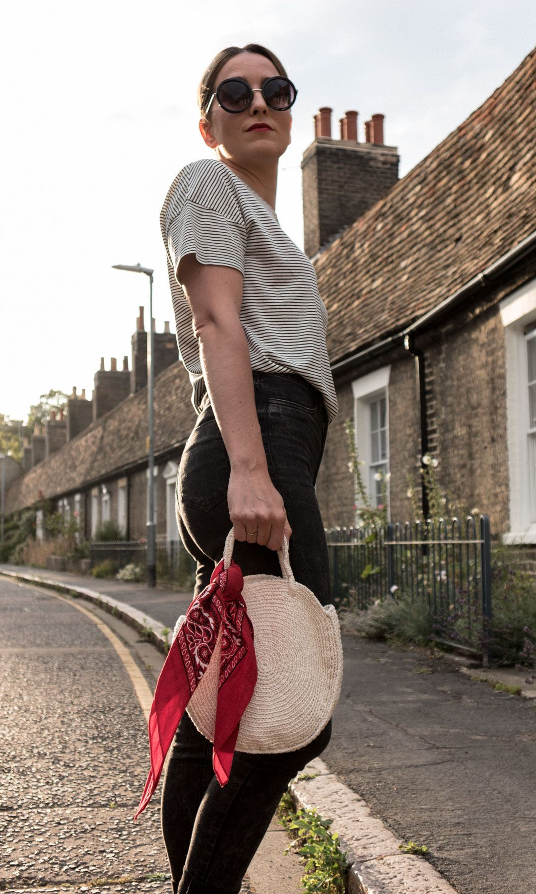 An easy chic look anyone can pull off | Striped boxy tee and skinny grazers for a chic look | Round crochet bag | Casual chic | Pop of red | Bandana | Birkenstock Dupes | Saida Antolin | She talks Glam | The Golden Hour on Orchard Street