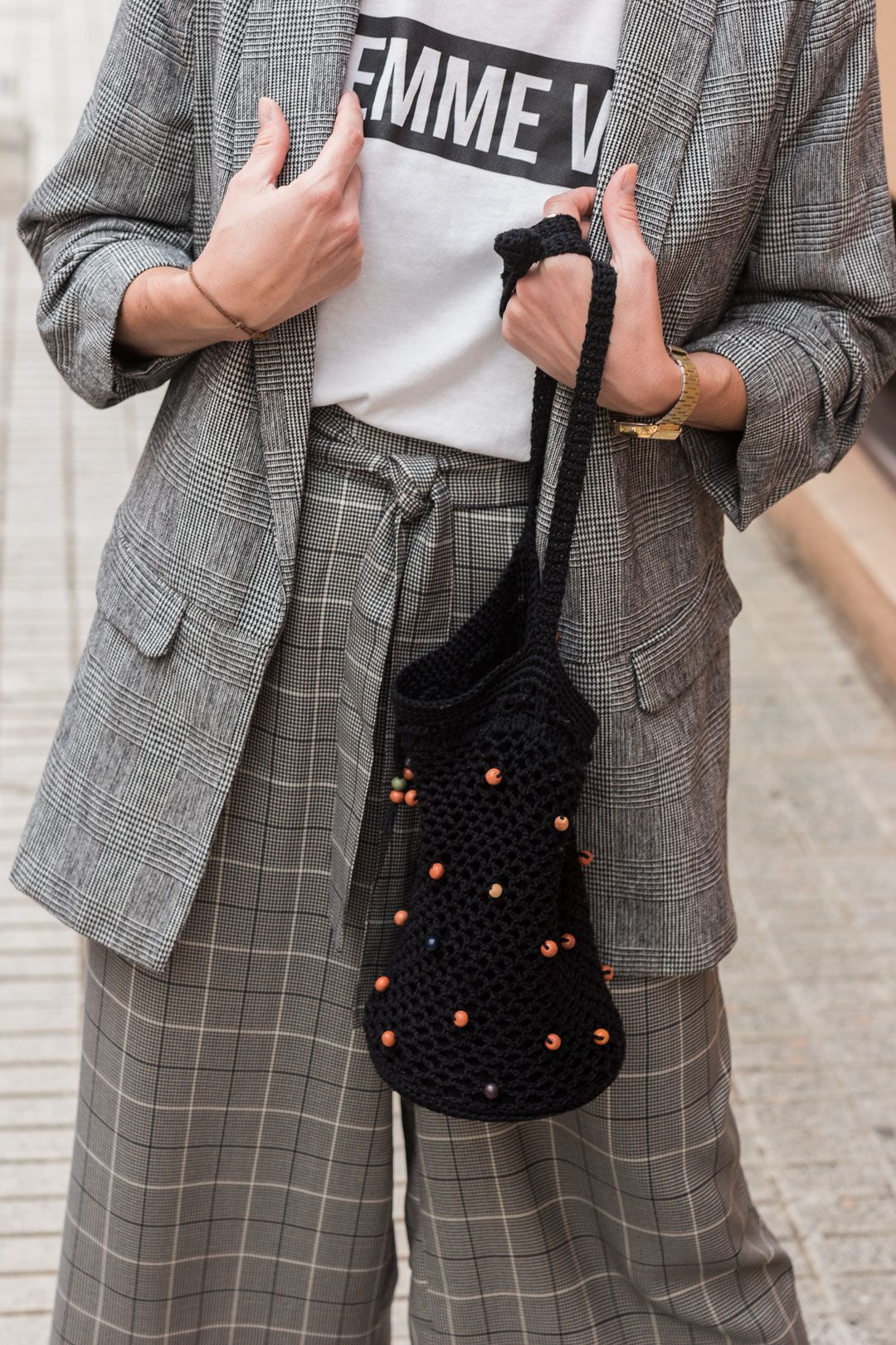Not your average checked suit   The king print this autumn   Culottes for fall   #culottes   How to style a culotte for autumn   #transitionlook   #blazer   #checkedblazer   #Streetstyle   #minimalchic   #edgyfashion   She talks Glam   Saida Antolin   #crochetbag   #DYIbag   #falloutfit   #slogantee   #feministtee   Effortless chic   #OOTD   UK Blogger