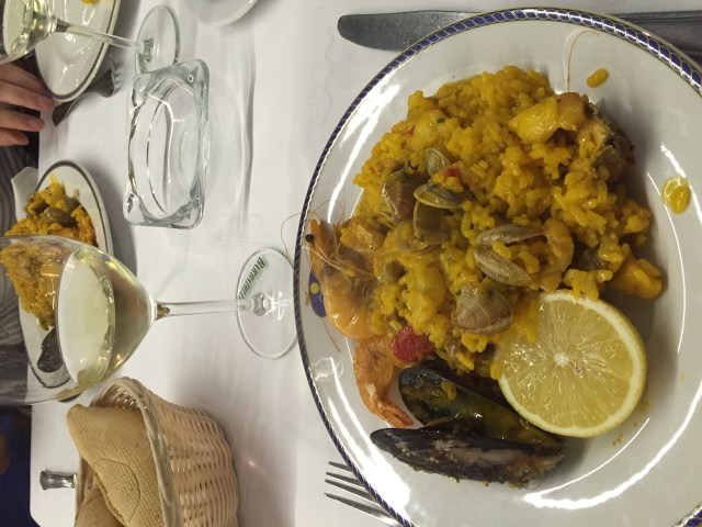 "In ""tourist Spain,"" you can get big portions of touristy paella any time of day"