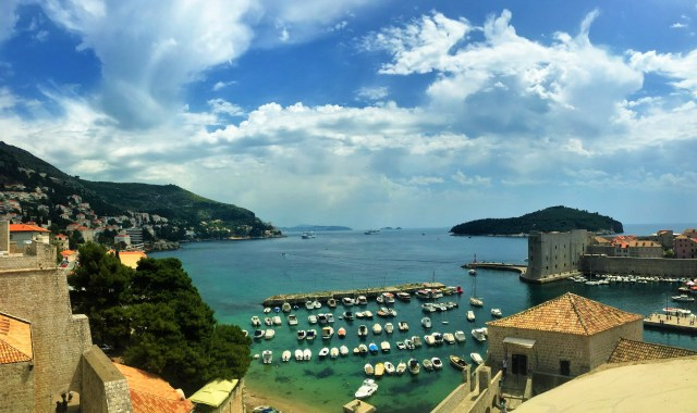 Dubrovnik's harbor view from walking the fortress walls