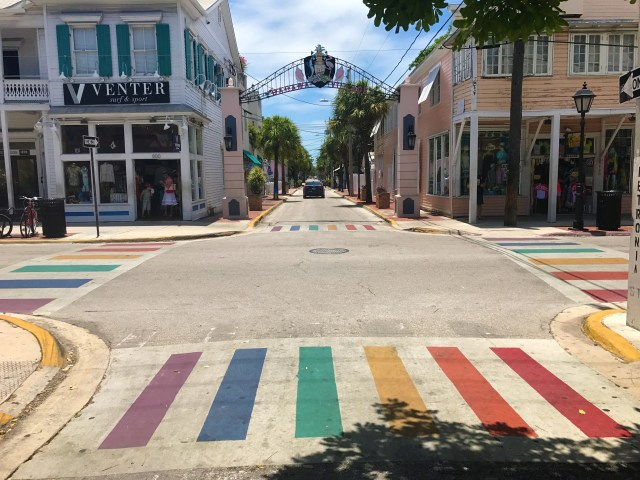 Rainbows on the street in Key West