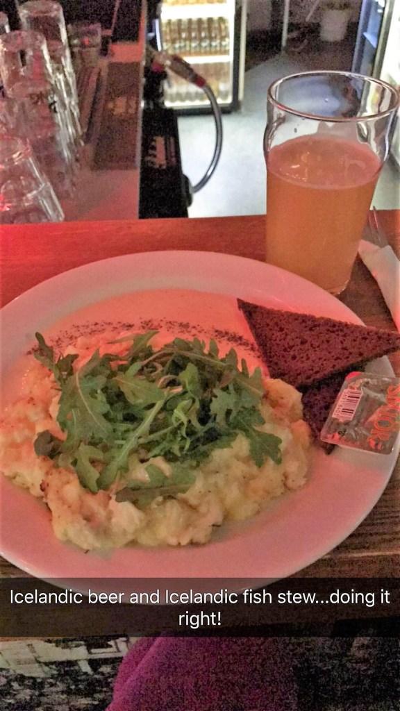 < Icelandic fish stew and Icelandic beer >