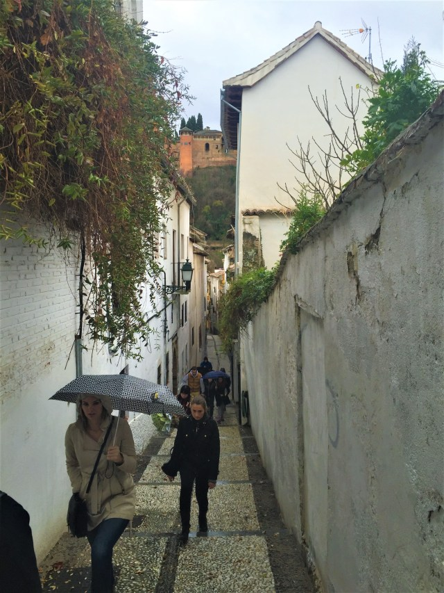 Our tour group heading deep into the history of Granada.