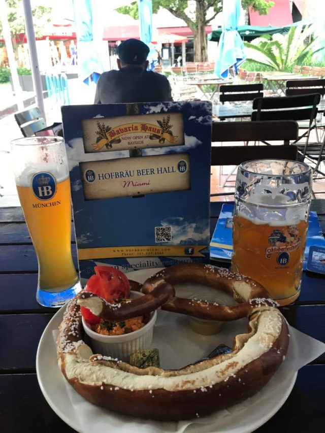 German beer and pretzels at Hofbrau Beer Hall