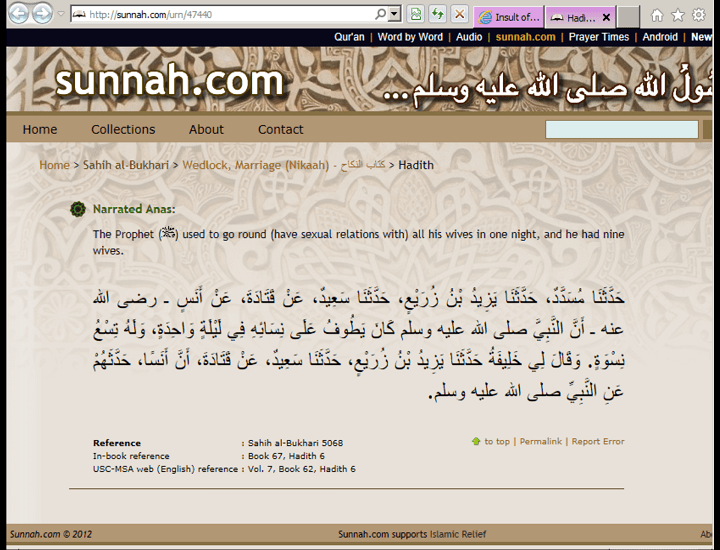 Holy Prophet used to have sexual relations with 9 wives in one night