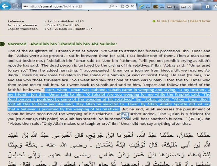 Aisha the wife of Prophet contradicts with Umar bin Khattab