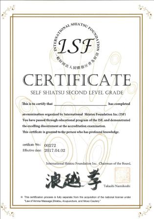 Shiatsu Master Autoshiatsu diploma