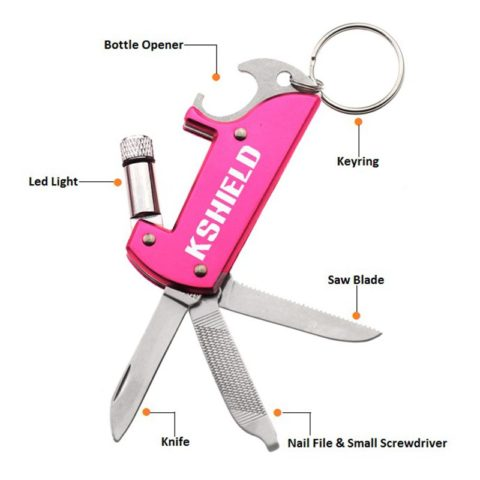 Custom Color 7 In 1 Multi Bottle Opener Keyring with Torch (3)