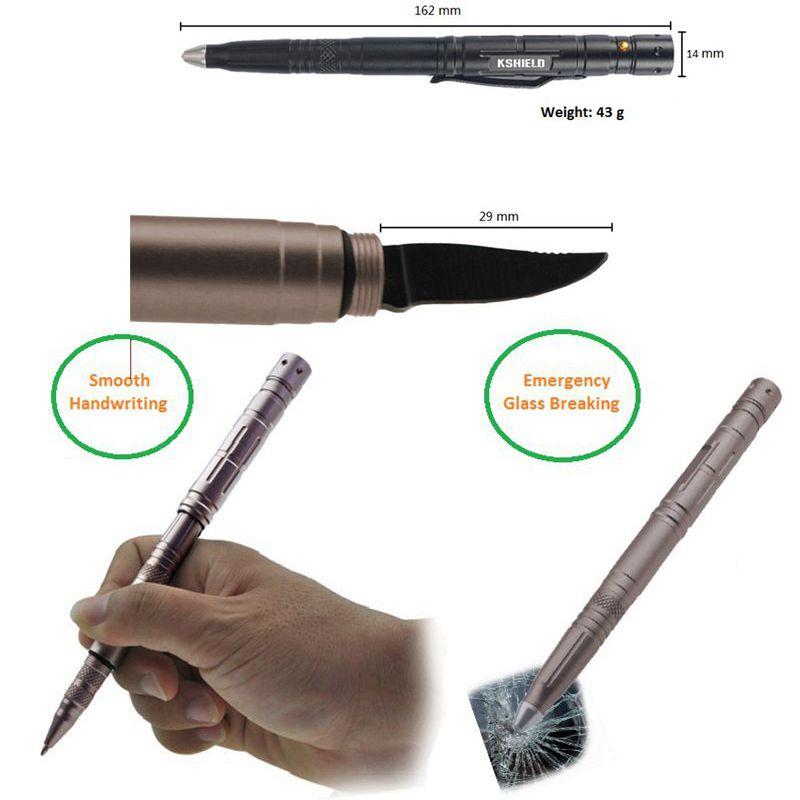 EDC Multi Functional Self-defense Aluminum Tactical Pen with Led Light (2)