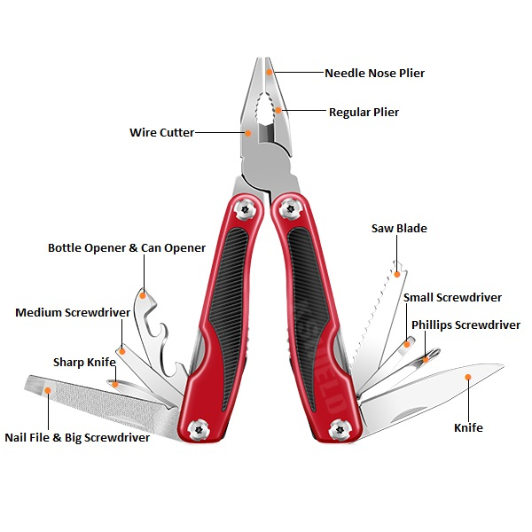 Antislipping Handle 13 In 1 Big Multifunction Pliers MT-6132R (3)