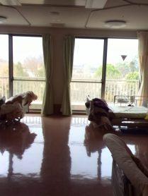 窓からの眺めが最高。入所者の4人部屋。