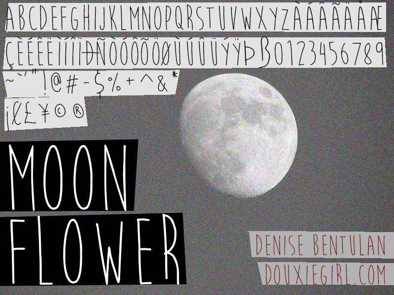Handwriting Font Free Moon Flower