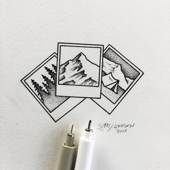 Polaroid and Nature Drawings