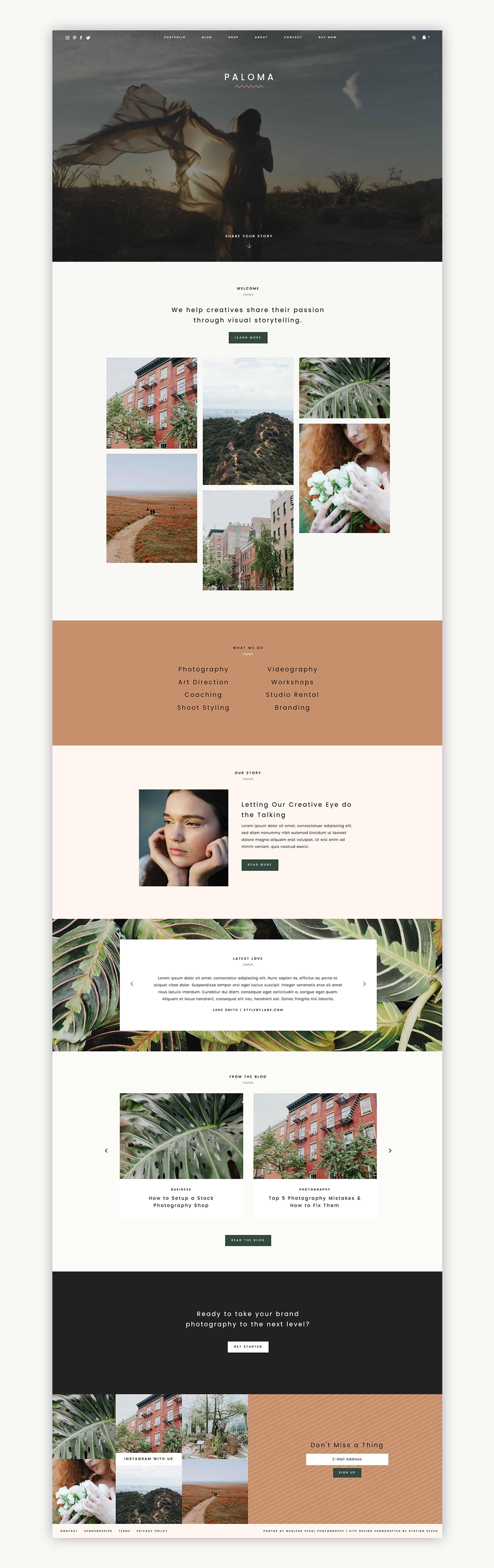 Feminine WordPress Theme - Paloma Station Seven