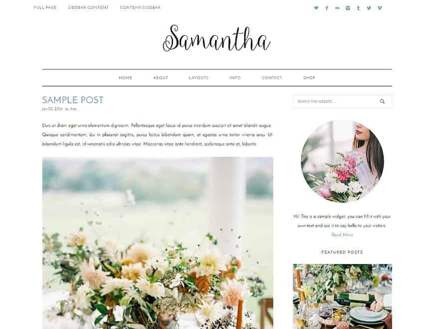Samantha Feminine WordPress Theme