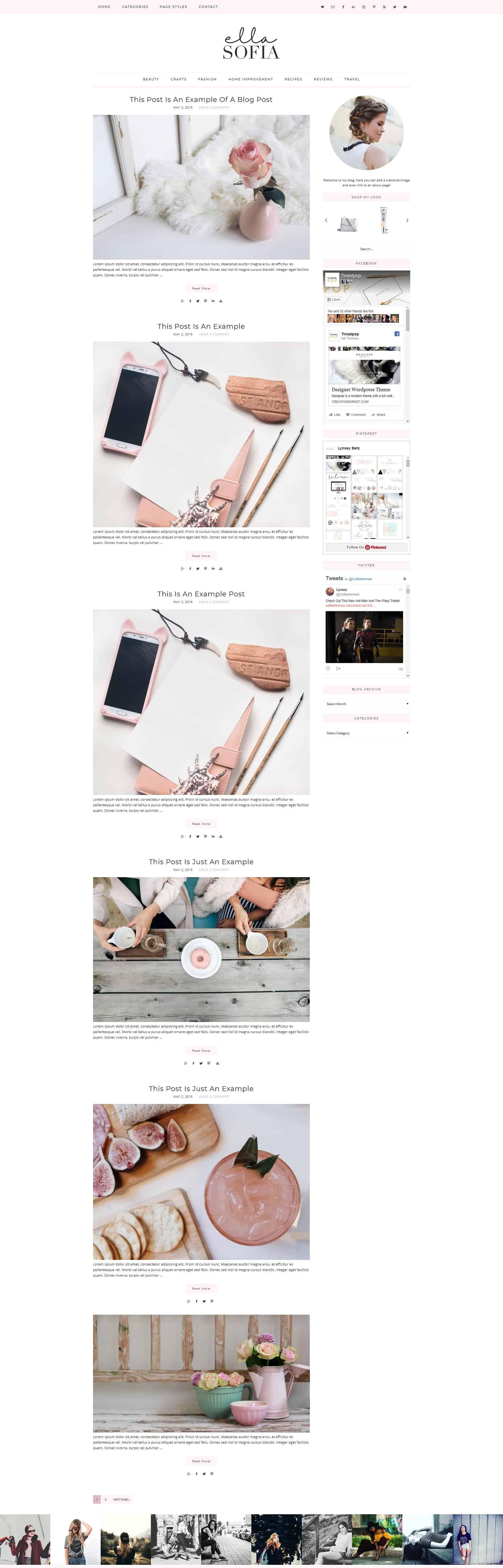 Feminine Cheap WordPress Theme - Ella Sofia