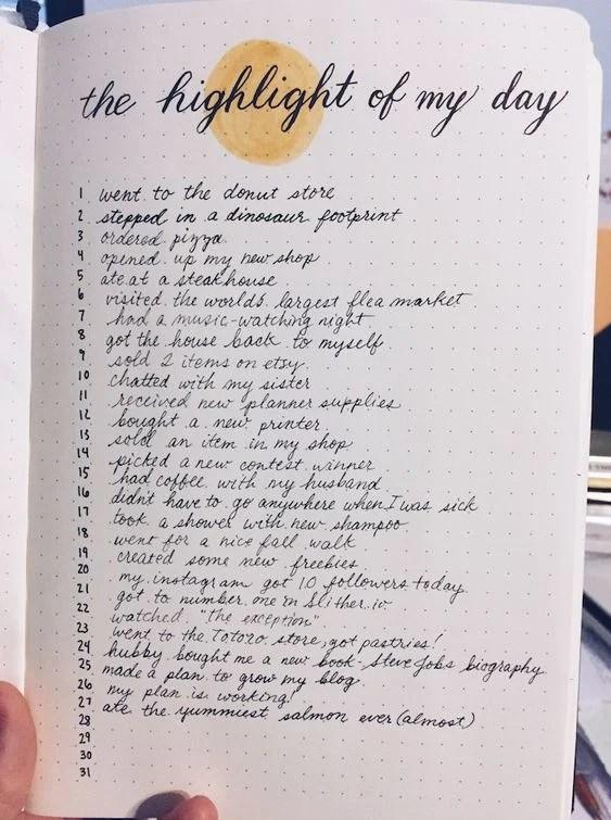 Highlight of Day - Bullet Journal Inspiration